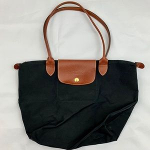 Longchamp le pliage black nylon medium tote bag